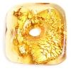 Glass Lamp Bead 23x24mm Square Gold